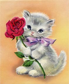 Retro Kitty with Rose Image