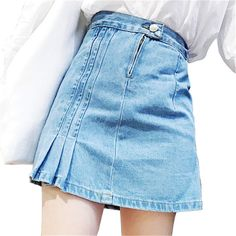 2017 Summer Style Korean Academy Windy Loose Wrinkled Folded Denim Skirt Blue Wild Stitching Solid Color Leisure A-Line Skirts