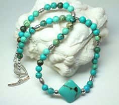 Turquoise Beaded Gemstone Necklace Green by CaveGemstones on Etsy, $28.00 #turquoise #necklace