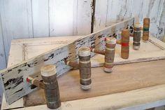 Wood coat rack retro re-purposed croquet mallet wooden wall decor handmade wall hooks Anita Spero. $120.00, via Etsy.