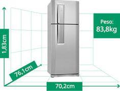 Resultado de imagem para dimensões de geladeira