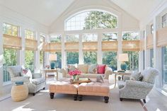 Sunroom Decorating and Design Ideas. Get inspired with clever layout and pretty fabrics, furniture, and accents to transform your sunroom into the most-used room in your house. Tags: sunroom design ideas, sunroom furniture, floor to ceiling windows Shabby Chic Kitchen, Shabby Chic Homes, Kitchen Decor, Kitchen Tables, Kitchen Ideas, Kitchen Cabinets, Home Living, Living Spaces, Living Rooms