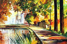 "Summer Pond — PALETTE KNIFE Landscape Modern Art Wall Hanging Oil Painting On Canvas By Leonid Afremov - Size: 36"" x 24"" (90 cm x 60 cm)"