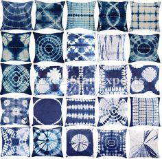 Indian Shibori Tie Dye Cushion Cover 16X16 Indigo Handmade Throw Pillow Case