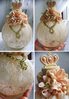 Altered Bottle ~ Lace, necklace, ribbon flowers....and an old bottle.