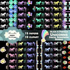 Unicorn Scrapbook bundle - Black and Pastels - Digital Paper, Clip art, clipart Birthday Party Invitations, Birthday Party Decorations, Adult Birthday Party, Shop Logo, Handmade Items, Handmade Gifts, School Projects, Pastels, Digital Scrapbooking