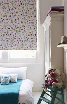 Fun patterns add a wonderful hint of colour to a room add coordinating accessories and furniture to bring the look together in the whole room, perfect for kids rooms. Our Foxy Pink Roller blind is perfect for this. Pink Roller Blinds, Skylight Blinds, Blackout Blinds, Kids Curtains, Fun Patterns, Kids Rooms, Colour, Living Room, Inspiration