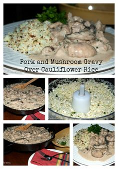 Pork and Mushroom Gravy Over Cauliflower Rice from Mother Rimmy's Cooking Light Done Right http://motherrimmy.com/recipe-pork-mushrooms-gravy-over-cauliflower-rice/ #recipes #pork #cauliflower