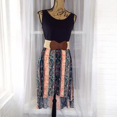 """Paisley Navy & Orange High Low Dress Measurements are all taken laying flat. True to size. Lined skirt. Stretch! 100% polyester MADE IN USA. You can purchase this listing! Bundle & Save!  Belt not included.   L: Bust-18""""/waist to top of strap- 14""""/front length- 34""""/back length- 43""""/waist- 14"""" posh on first boutique Dresses High Low"""