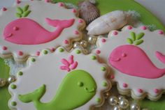 Preppy Pink & Green Whales Sugar Cookies by goosiegirl10  via Etsy.