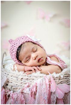 Newborn Baby girl photography- Pink butterflies