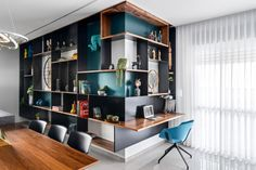 CONTEMPORIST | Page 7 of 2056 | Contemporist features great ideas from the world of design, architecture, interior design, furniture, lighting, and art Steel Shelving Unit, Wood Shelves, Open Shelving, Display Shelves, Wall Mounted Desk, Shelving Design, Wood Interior Design, Bookcase Storage, Grey Cabinets