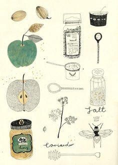 Illustration by Ryn Frank Art And Illustration, Editorial Illustration, Food Illustrations, Project Life Karten, Drawn Art, Hand Drawn, Grafik Design, Oeuvre D'art, Painting & Drawing