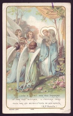 OUR LADY w/ CHILD JESUS & ANGELS Old dat.1926 BOUASSE HOLY CARD