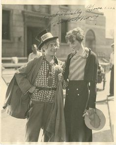 An odd pairing from the past -- Harpo Marx and Amelia Earhart. Apparently, they met on the set of Horse Feathers. That's all I know.