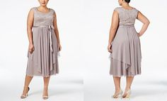 R & M Richards Plus Size Belted Lace Gown