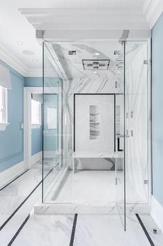 Love this quartz slab for a shower area! No grout lines! (Scott McGillivray Master Shower) #masterofbusiness