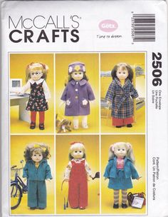 """McCall's Crafts 2506 Doll Clothes and Dog Sewing Patterns - Fits American Girl Doll - 18"""""""