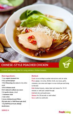 The Chinese have perfected the art of cooking chicken. Could the secret be poaching? Here's a tasty recipe that uses this healthy cooking method. Healthy Chinese Recipes, Healthy Foods To Eat, Healthy Cooking, I Foods, Healthy Eating, Healthy Recipes, Poached Chicken, Good Food, Yummy Food