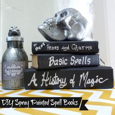DIY spray painted spell books at thehappyhousie