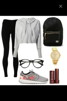sweater glasses nike nike running shoes bag school bag leggings black leggings hoodie grey sweater grey hoodie crop tops cropped cropped sweater cropped hoodie outfit school outfit hipster girly nerd shoes sunglasses