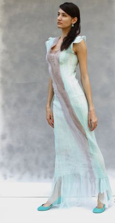Felted dress mint gray brown color block mermaid dress OOAK evening gown gift for her exclusive. $479.00, via Etsy.