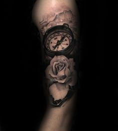 Natuical Map With Compass And Realistic White Rose Tattoo On Male