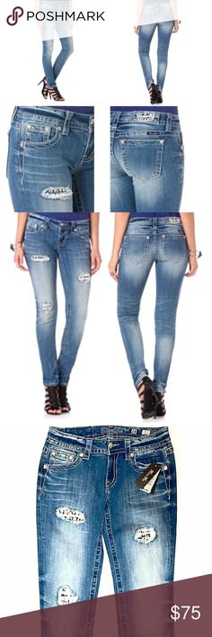 """Miss Me Crystal Peek-A-Boo Secret Skinny Jeans Every closet needs one great pair of jeans and these are it! You'll look ultra chic in these glamorous distressed chic skinny jeans! Details include various crystals coming through distressed holes at front and on logo patch, classic 5-pocket design, fading, whiskering, and silver logo hardware. 98% Cotton; 2% Elastane,Machine Wash Separately In Cold Water, Front Rise: 7 ½"""" ; Back Rise: 12 ½"""" Inseam: 30"""". Brand new with tags! Miss Me Jeans…"""