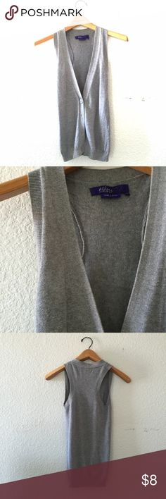 "*$3 for $15* Long Sweater Gray Vest Sz M Size Medium Button down vest from Miley Cyrus with a sweater-like texture. Length is 26.5"" from shoulder to hem.  ***ALL ITEMS PRICED $8 OR LESS, BUNDLE 3 FOR ONLY $15!! ***  To purchase your bundle deal, add your 3 items to a bundle and offer $15! That simple!! POSH ON PEEPS!! Miley Cyrus & Max Azria Jackets & Coats Vests"