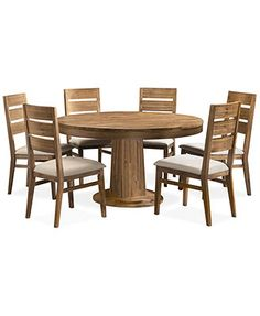 "76"" Round Pedestal Dining Tablecocoa  Round Pedestal Dining Beauteous 7 Piece Round Dining Room Set Design Decoration"