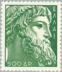Details of Greece stamp of ancient art issue, green, Zeus of istiaea design, wmk crowns (id Zeus Greek, Greece History, Postage Stamp Collection, Ancient Greek Art, Greek And Roman Mythology, Fauna, Stamp Collecting, Postage Stamps, Poster