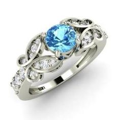 Engagement Rings - Bernice - Blue Topaz Engagement Ring in 14k White Gold with SI Diamond (0.89 ct.tw.)