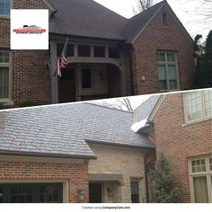 (Before and After) Roof replacement in Elmhurst, IL. Our crew installed DaVinci synthetic roofing which is becoming very popular in the western suburbs. Known for its durability and amazing curb appeal. James Hardie, Curb Appeal, Garage Doors, Cabin, Popular, House Styles, Amazing, Outdoor Decor, Free