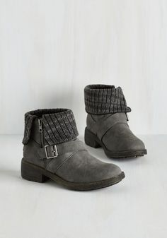 Shooting Star Search Bootie in Stone by Rocket Dog - Low, Faux Leather, Grey, Solid, Buckles, Casual, Fall, Winter, Mixed Media, Variation, Better, Ankle