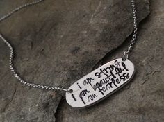 """You+know+I+love+this+saying!+This+time+I+stamped+it+on+a+gorgeous+hand+casted+pewter+disc.+It+hangs+from+a+stainless+steel+chain.+Measures+18"""".+You+will+love+the+pewter+pieces.+They+are+really+beautiful+and+so+organic+looking.+Totally+unique.++"""