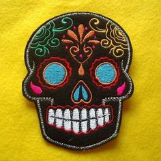 Day of the Dead Sugar Skull Embroidery Patch blue eyes by lizmiera