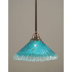 Black Copper One Light Pendant With Teal Crystal Glass Shade Toltec Lighting Dome Pendant