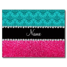 Personalized name turquoise damask pink glitter post card