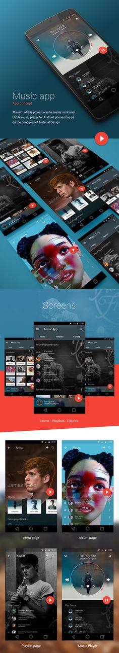 The aim of this project was to create a minimal UI/UX music player for Android phones based on the principles of Material Design.All screens are designed in Sketch.App-reciate and share if you like this project! Web Design, App Ui Design, Graphic Design, Gui Interface, User Interface Design, Apps, Colegio Ideas, Android Design, Bussiness Card