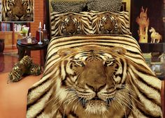Duvet Cover of Contemporary Bedroom Using Tiger Bedroom on Brown Rug