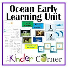 Ocean Themed Early Learning Unit - designed for preschool, prekindergarten or kindergarten.  Lots of free printables and ideas for activities for your classroom.  Great for homeschooling too.   By The Curriculum Corner