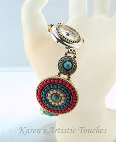 Coral Turquoise Beach Gold Silver Beaded Watch by ArtisticTouches