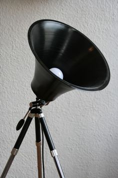 Studio Lamp made from upcycled LP and Tripod in lights  with Vinyls Upcycled Light Lamp
