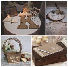 mariage rustique champêtre livre d'or lettre en papier mache panier à messages rondin de bois livre d'or toile d ejute