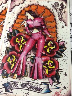 Selena La Reina Tattoo Art Print 11x17 inches by PorVidaCS on Etsy