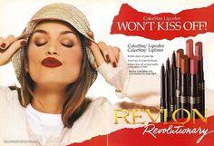Vintage Makeup Ads, Vintage Beauty, Beauty Ad, Beauty Skin, 1990s Makeup, Revlon Lip, Old Ads, Cindy Crawford, Lip Liner