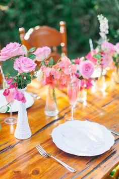 Pink milk glass wedding centerpiece | Kati Rosado Photography