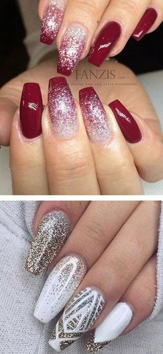 Red White Glitter Ombre Nails Nails In 2018