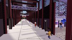 Die Hafenpassage im Minenarbeit Industriepark - aus ungewohnter Perspektive.