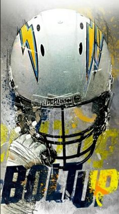 Bolt up! American Football, Football Team, Football Helmets, Football Rules, Football Tattoo, Football Boots, Chargers Nfl, San Diego Chargers, New Orleans Saints Football
